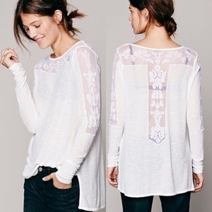 New Romantics by Free People White Lace Jilly Tee